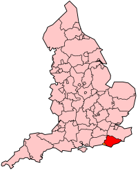 Map location of East Sussex, England