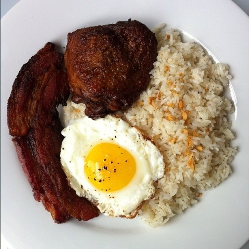Chicken Adobo with Fried Rice, Egg, and Maple Bacon