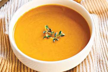 Bowl of hot pumpkin soup