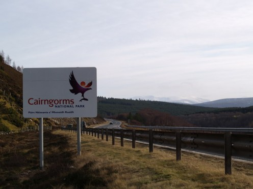 Entering the Cairngorms National Park from the north
