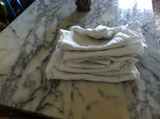 Pile of old cloth rags