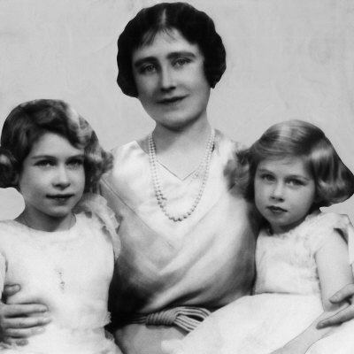 The Duchess of York with Princess Elizabeth and Princess Margaret Rose