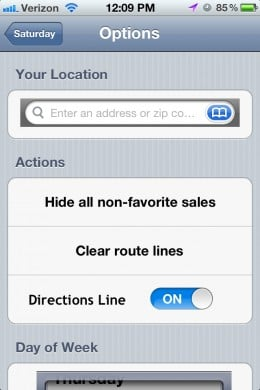 Use your current location or enter one. Show all sales or just your favorites.