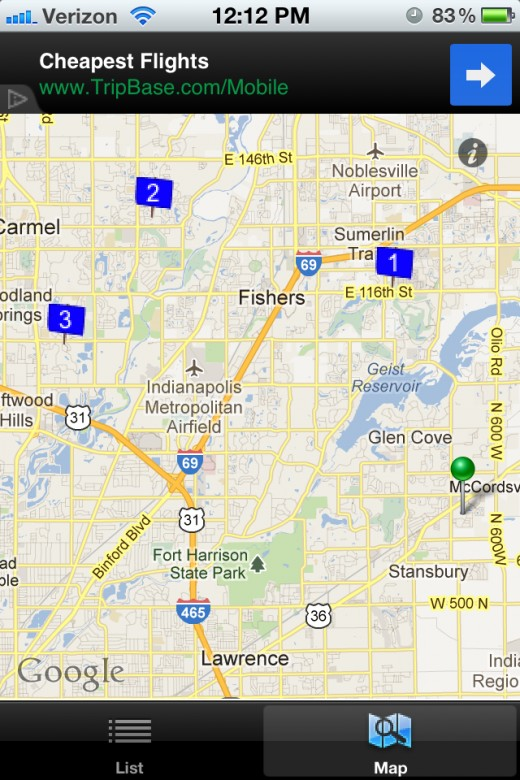 Map View with sales pinned