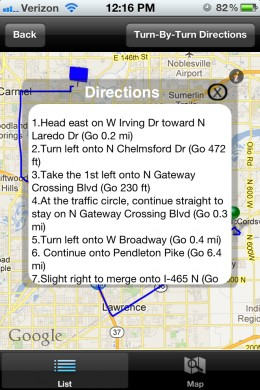 Directions are placed in a pop-up box.