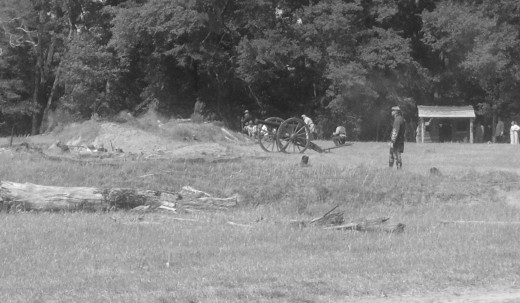 Civil War (Reenactment) in May, 2012.  The Confederates are trying to stop Sherman from taking Columbia, South Carolina