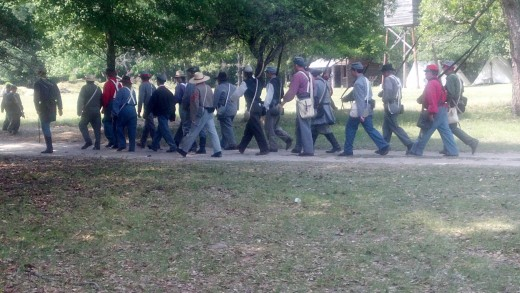 Here are the South Carolina Confederate Militia marching toward the battle to save their capital city, Columbia