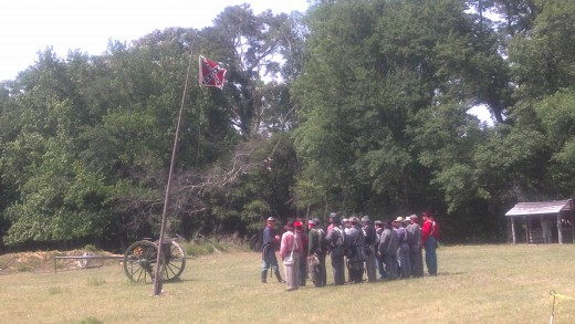 Pre-battle meeting among the Confederate Militia