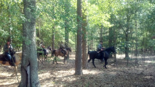 There was fighting on horseback in the woods near the battle field