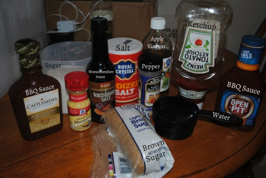 All the ingredients for my homemade BBQ sauce.