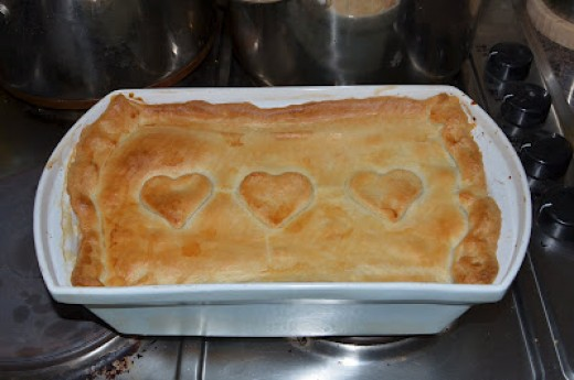 Yummy Sausage, Bacon and Leek Pie topped with love!