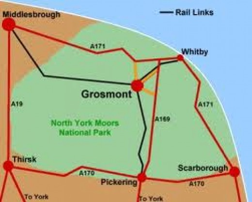 Area map - how to get to Grosmont