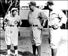 Jackie with Babe Ruth and Lou Gerhig before the game