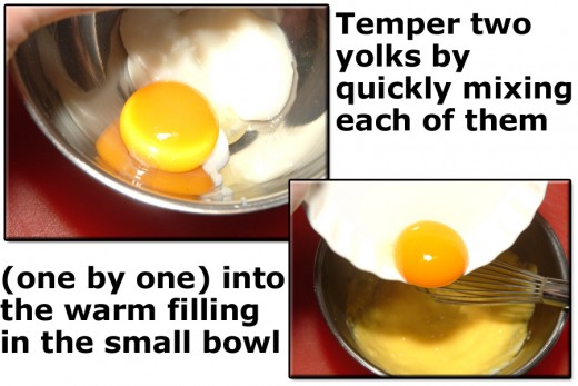 Add the egg yolks to the warm filling in the small bowl, one at a time, stirring quickly to temper them.
