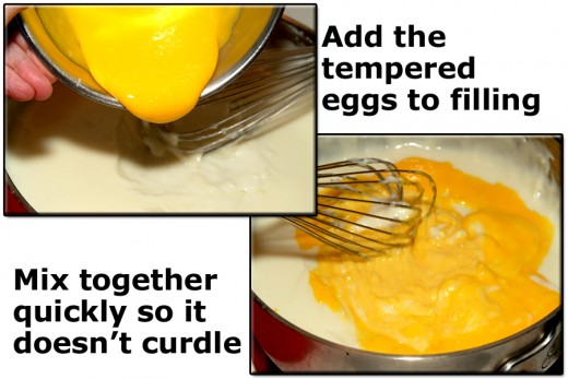 Add tempered egg yolks back into the filling and mix in really well. Doing this quickly helps to prevent the mixture from curdling.