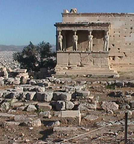 Porch of the Caryatids at the Erechtheion, Acropolis Rock, Athens, Greece,