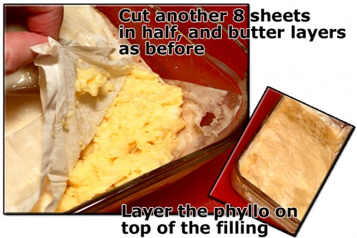 Layer buttered sheets of phyllo over the bed of prepared custard you spread in the baking dish.