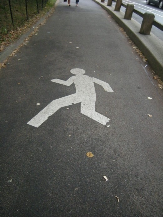 Watch out for runners in the park.