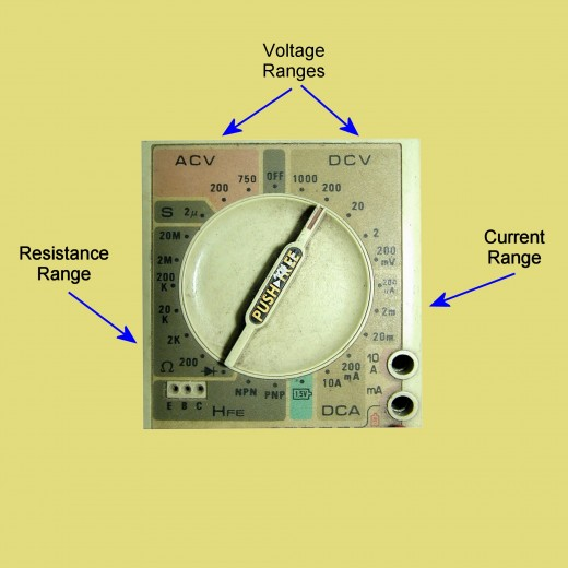 Function and range selection dial on a multimeter