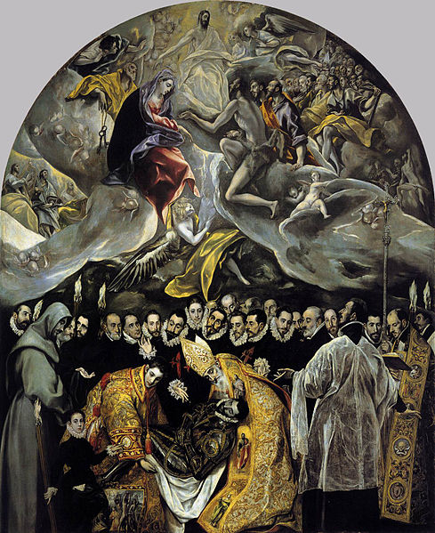 The Burial of the Count Orgaz, painted by El Greco, and is displayed in the church of St. Tome in Toledo, Spain.