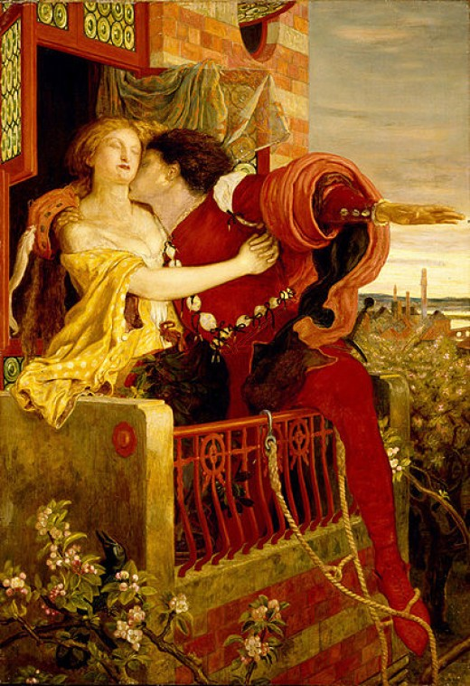 Painting of Romeo and Juliet in the balcony scene