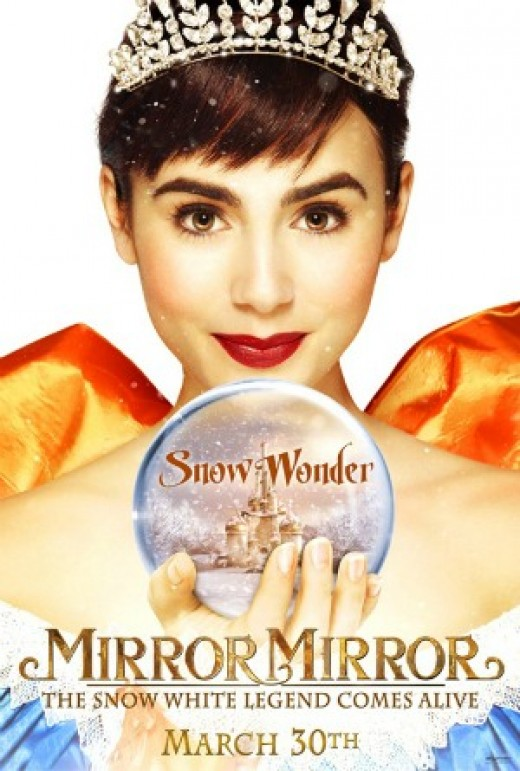 """Mirror Mirror is a 2012 comedy fantasy film based on the fairy tale """"Snow White"""" by the Brothers Grimm.  Lily Collins as Snow White."""