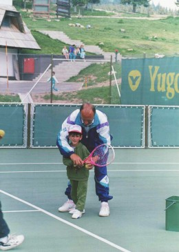 Novak Djokovic, and his first touch with tennis racket on Kopaonik, popular mountain in Serbia (and Europe), where he - in 1991 - with his 4 years, raised his racket for the first time.