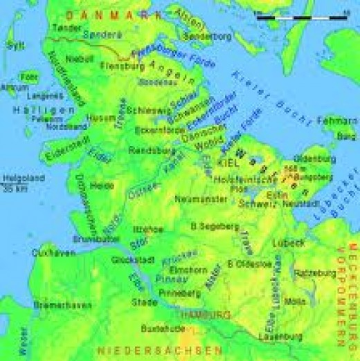 The Anglian homelands, wedged between the Jutish homelands to the north and the Saxon/Frisian homelands to the south and east. Old English leans more toward its northern neighbour.