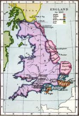 Eearly coastal settlement in the east and south. The Jutes settled in Kent and Wight; Saxons (blue areas) not quite so strong on the ground yet; and the Angles (pink areas) in the east were working inland either side of the Wash and the Humber