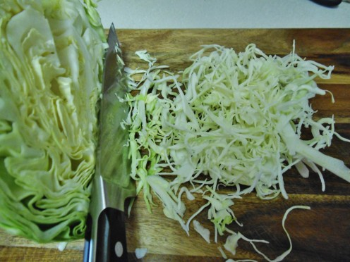 Slice cabbage thinly for a nice presentation.