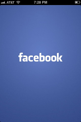 The Faceboook logo appears briefly while the app opens.