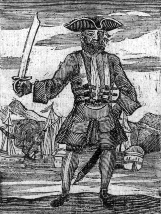 Blackbeard the Pirate: this was published in The History...of Pirates, 1725.
