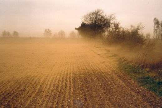 Wind erosion cause by current farming methods