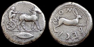 In 484 or 480 BC, Anaxilas, tyrant of Rhegium, won the mule biga event, and this tetradrachm was struck in commemoration.