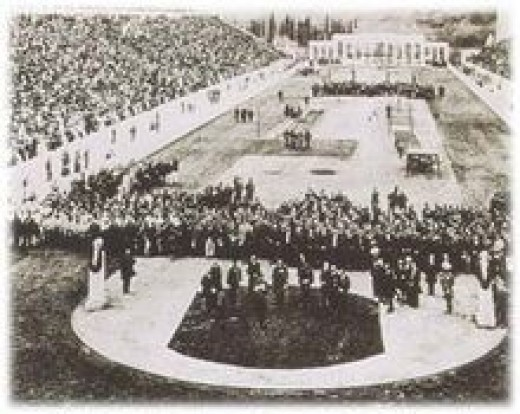 The opening ceremony at the 1896 olympics.