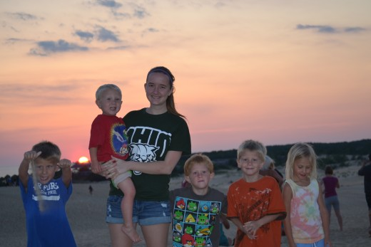 The kids at sunset at Jockey's Ridge State Park