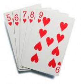 Straight Flush (five through nine of hearts)