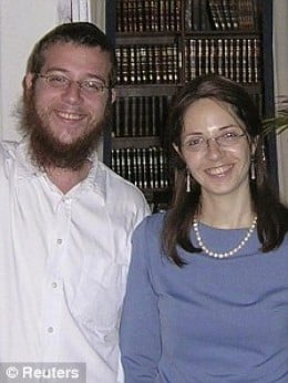 happy parents--Moshe's parents Rabbi Holtzberg and 6-month pregnant wife, Rivika