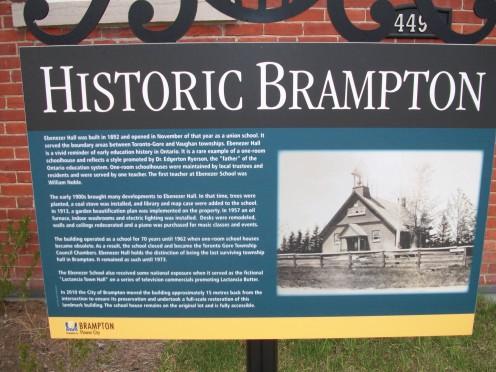 Historical plaque, Ebenezer Hall, Brampton
