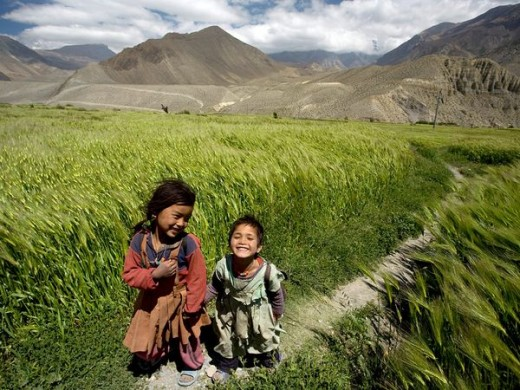 Children in beautiful Mustang of Nepal.