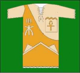 The shirt design. Note the hieroglyphs used judiciously in a symmetrical layout.