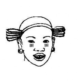 Three lines as beauty marks below the eyes of a Kikuyu girl