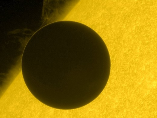 Venus in transition across the face of the sun