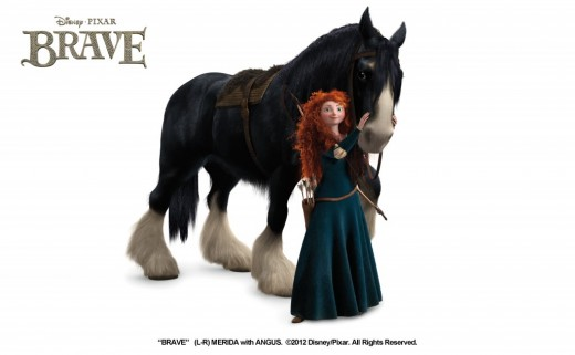 Movie Merida with her Clydesdale, Angus.