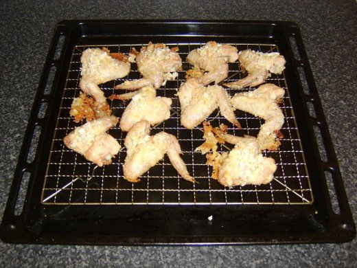 Wings are rested when they are removed from the oven