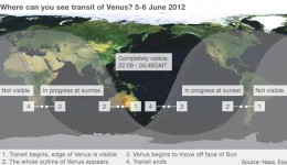 BBC News shows graphic of what areas of the world the transit can be seen, clearly indicating that North America would not be able to see much.