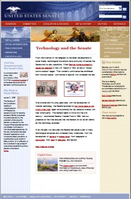 Image of United States Senate World Wide Web Home Page