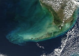 Satellite image of the Florida Keys.  The group of islands farthest north are called the Upper Keys. Next down are the groups called the Middle Keys and the Lower Keys. A fourth group is known as the Outer Keys and can only be accessed by boat.