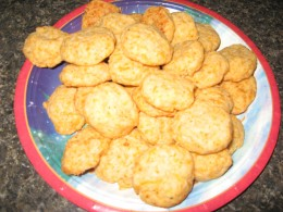More party food - homemade cheese wafers.
