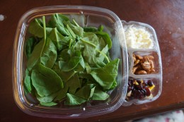 Healthy Salad that includes fruit, protein and dairy